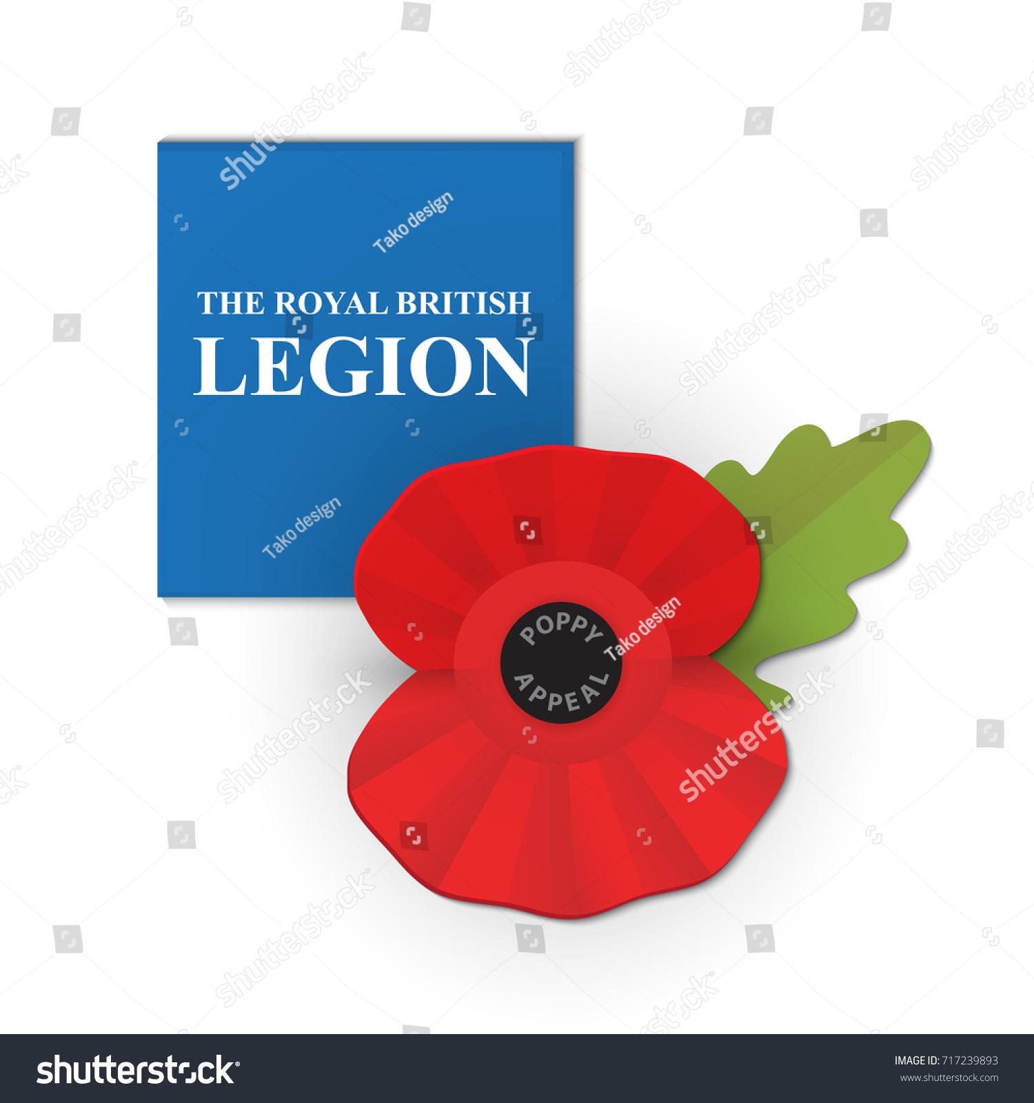 remembrance poppy poppy appeal modern paper stock vector 717239893