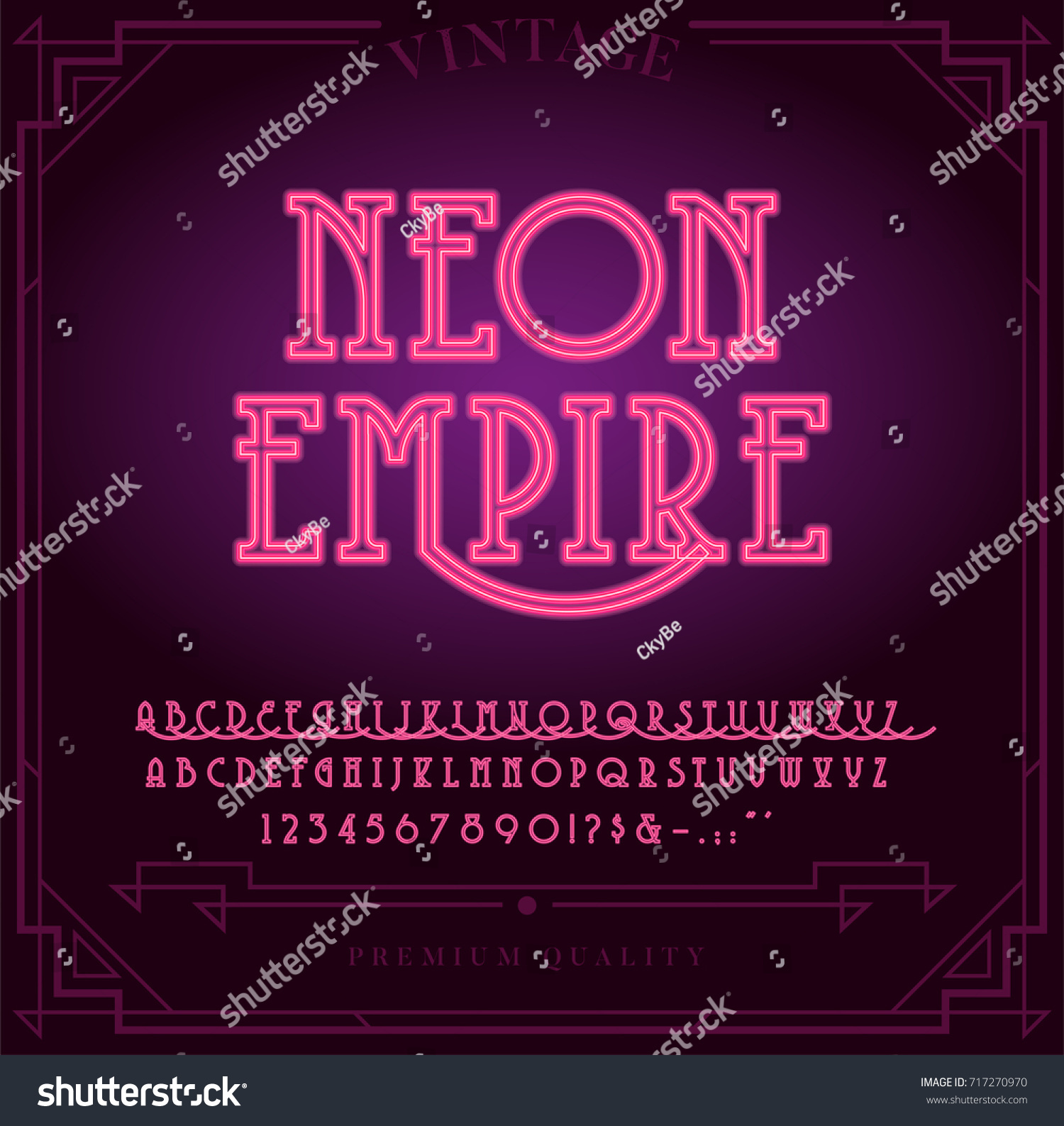 Bright Neon Alphabet Letters Numbers Symbols Stock Vector Hd