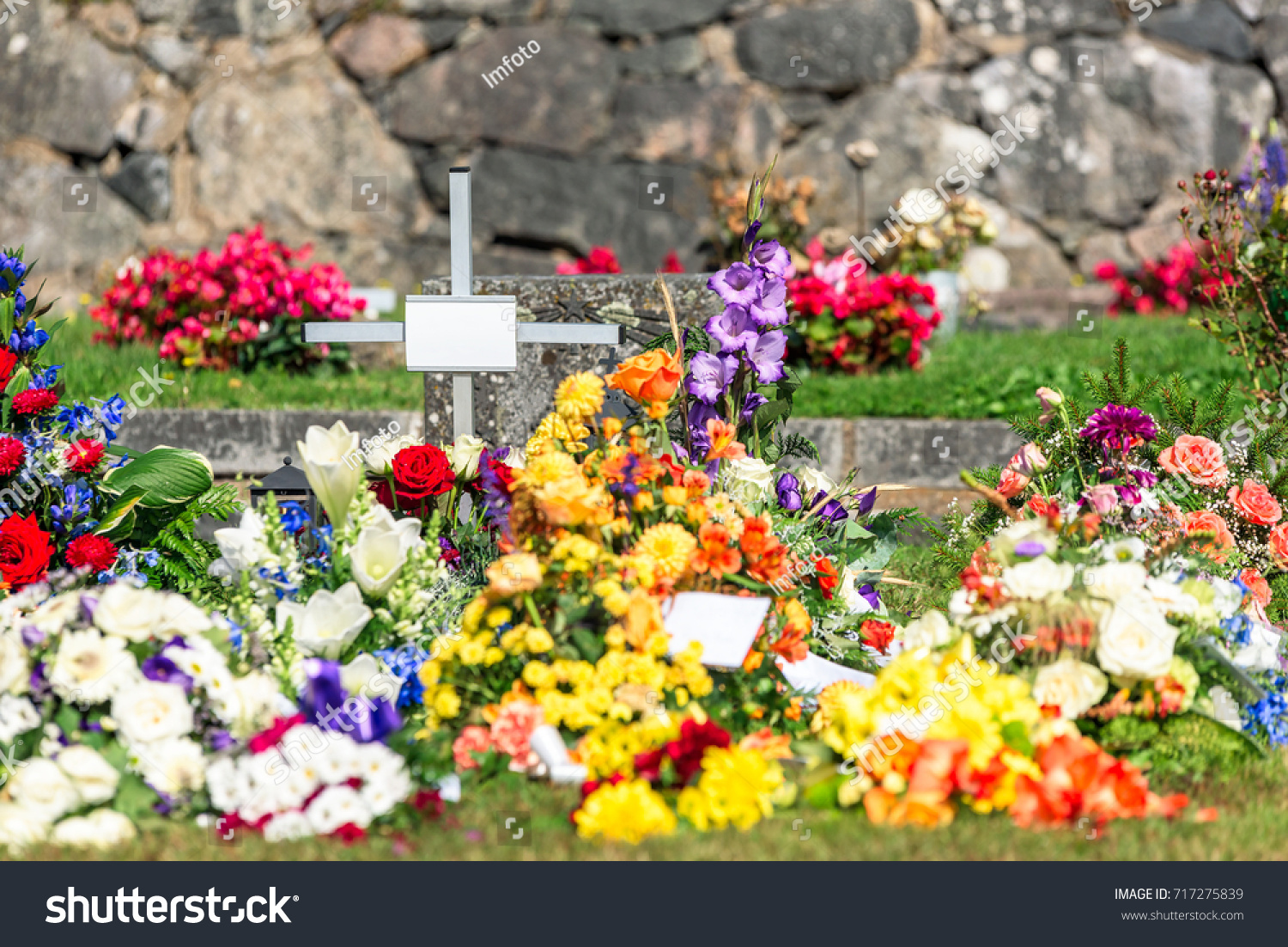 Lots Flowers Small Cross After Funeral Stock Photo Edit Now
