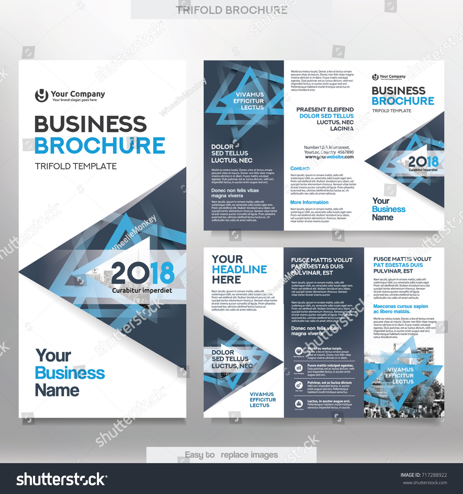 Business Brochure Template Tri Fold Layout Stock Vector (2018 ...