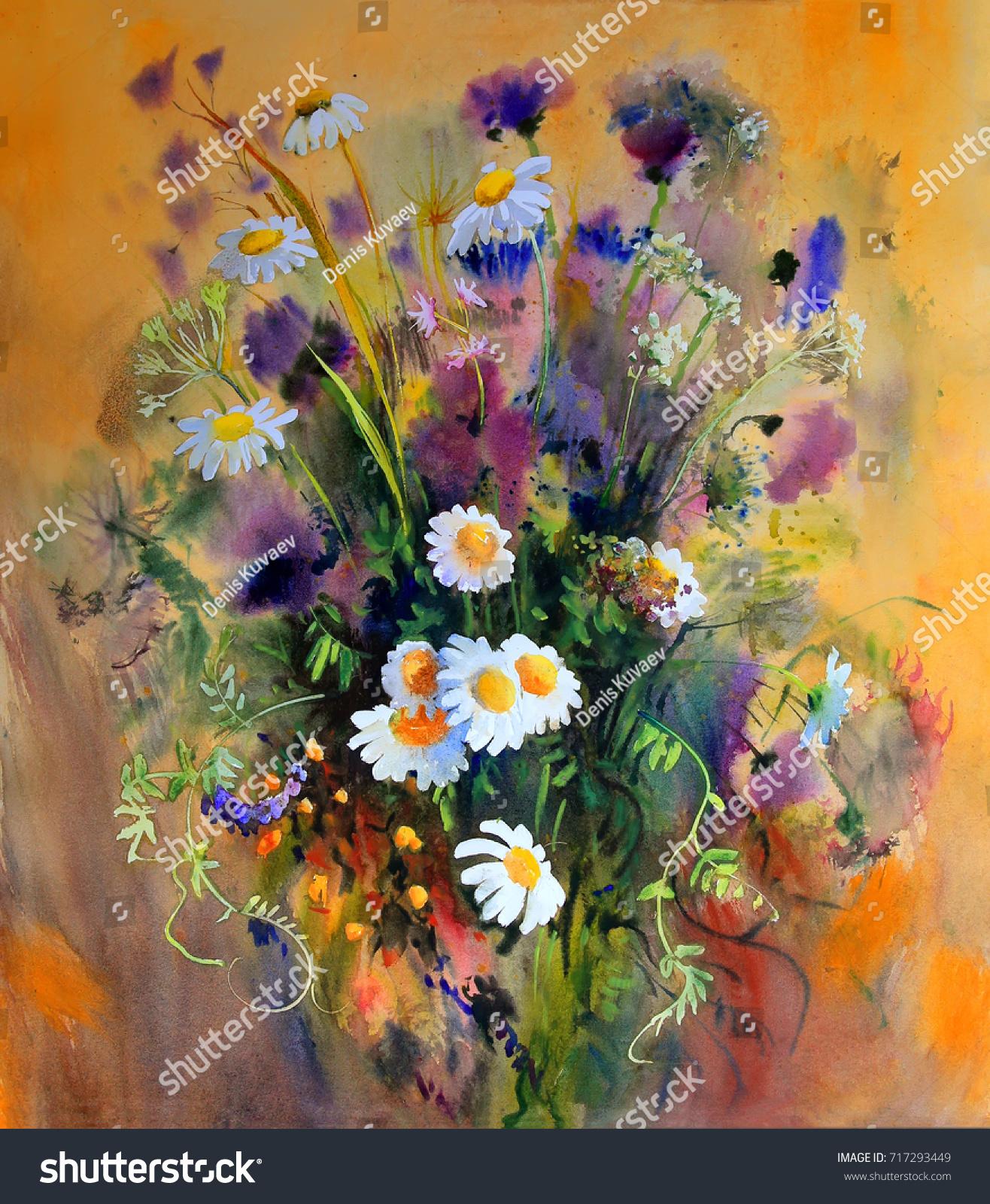 Watercolor Painting Beautiful Flowers Stock Illustration 717293449