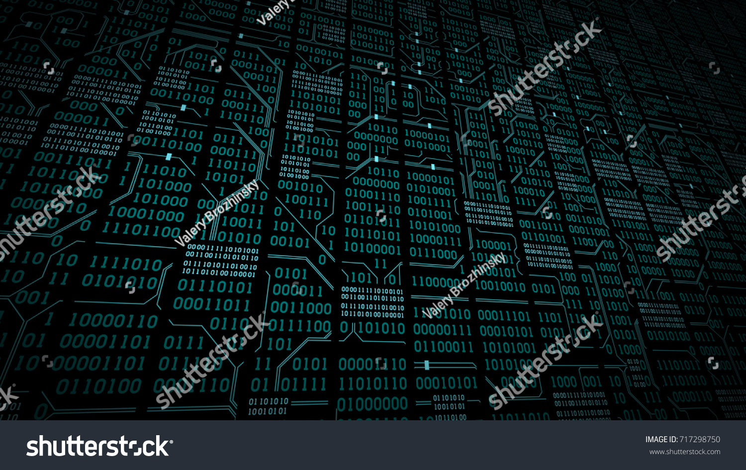 Abstract Cyberspace Binary Code Circuit Board Stock Illustration On With Matrix Background Digits