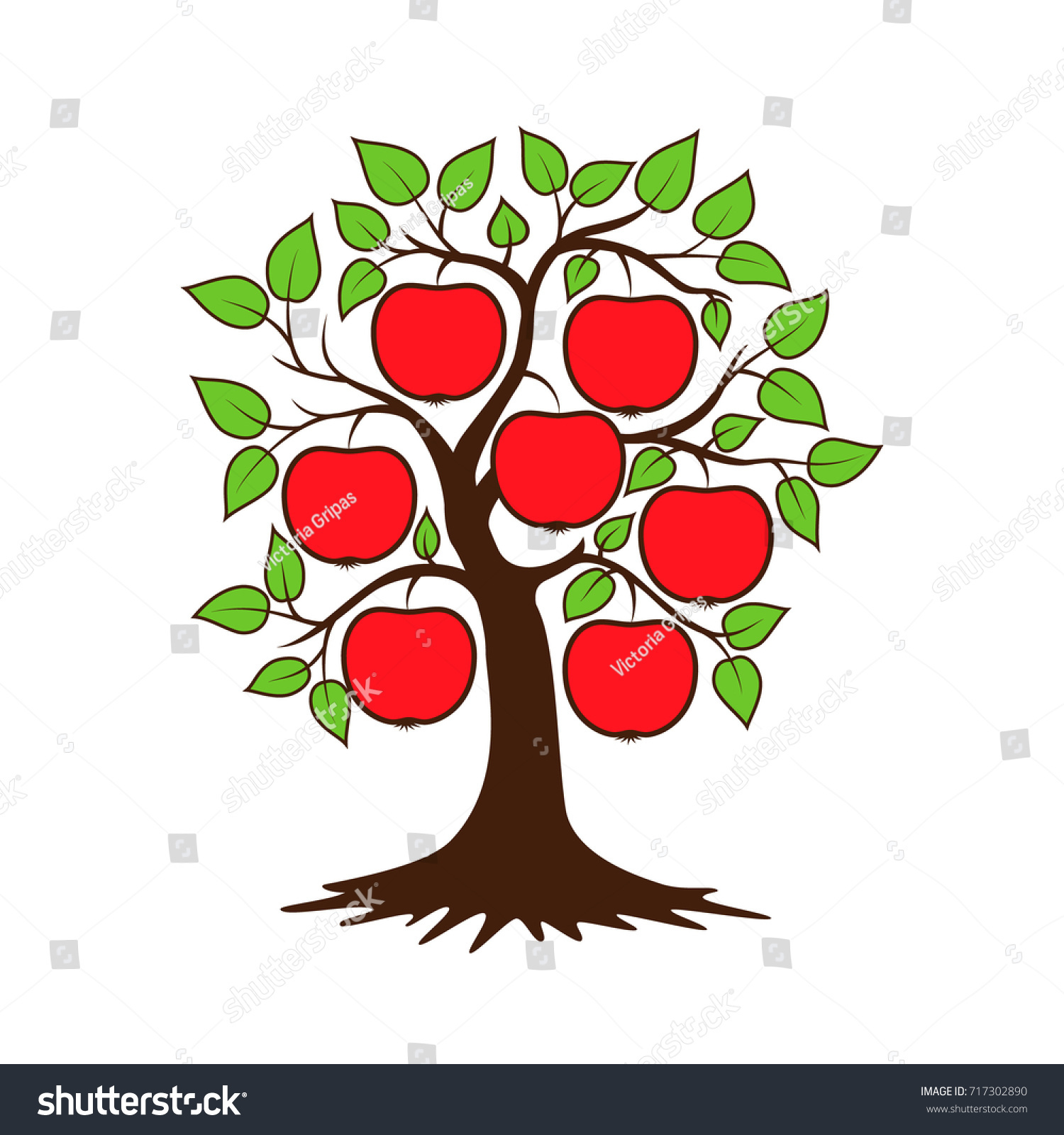 Apple Tree Vector Illustration Posters Wall Stock Vector 717302890 ...