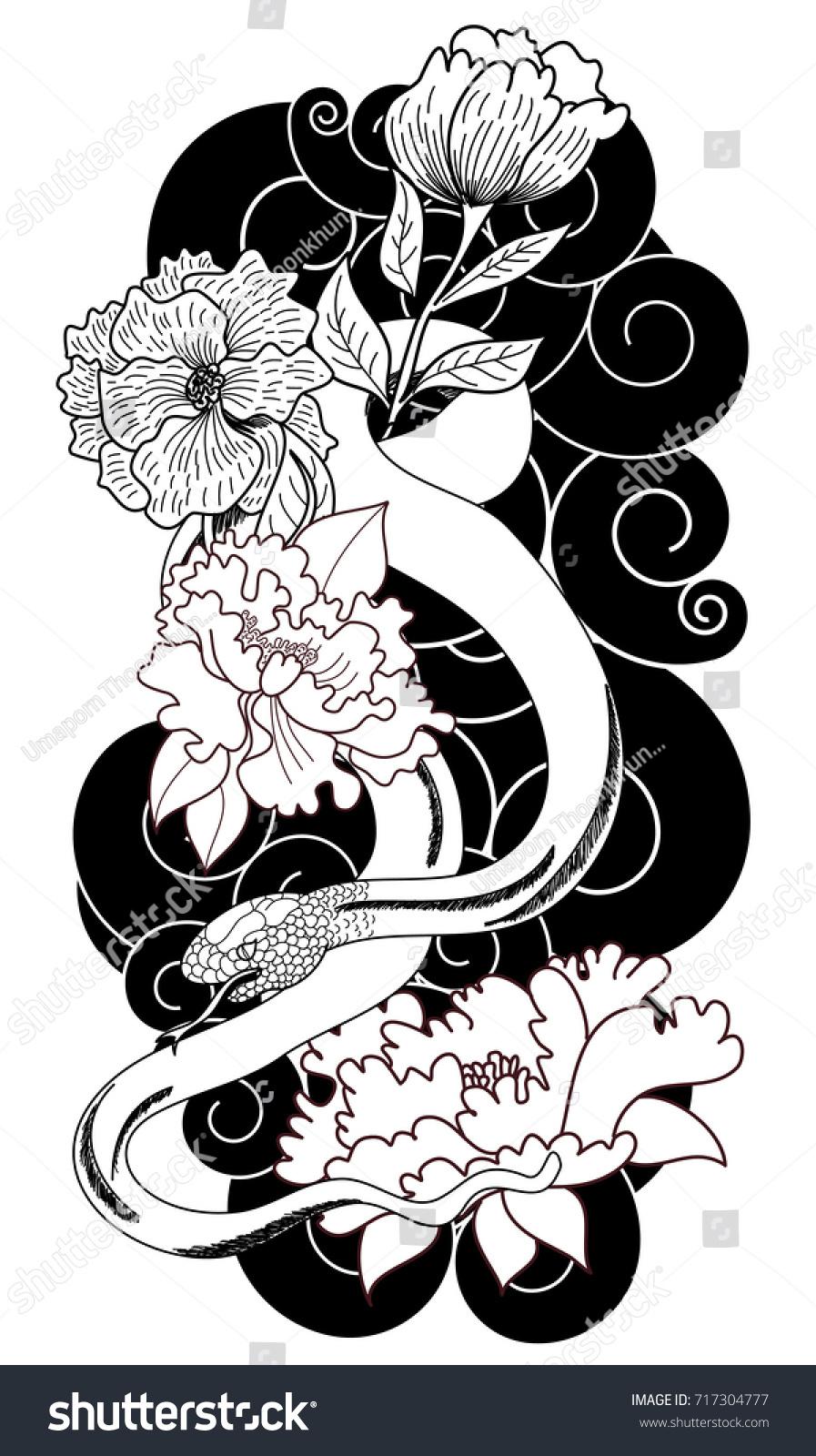 Black White Japanese Snake Peony Flower Stock Vector Royalty Free