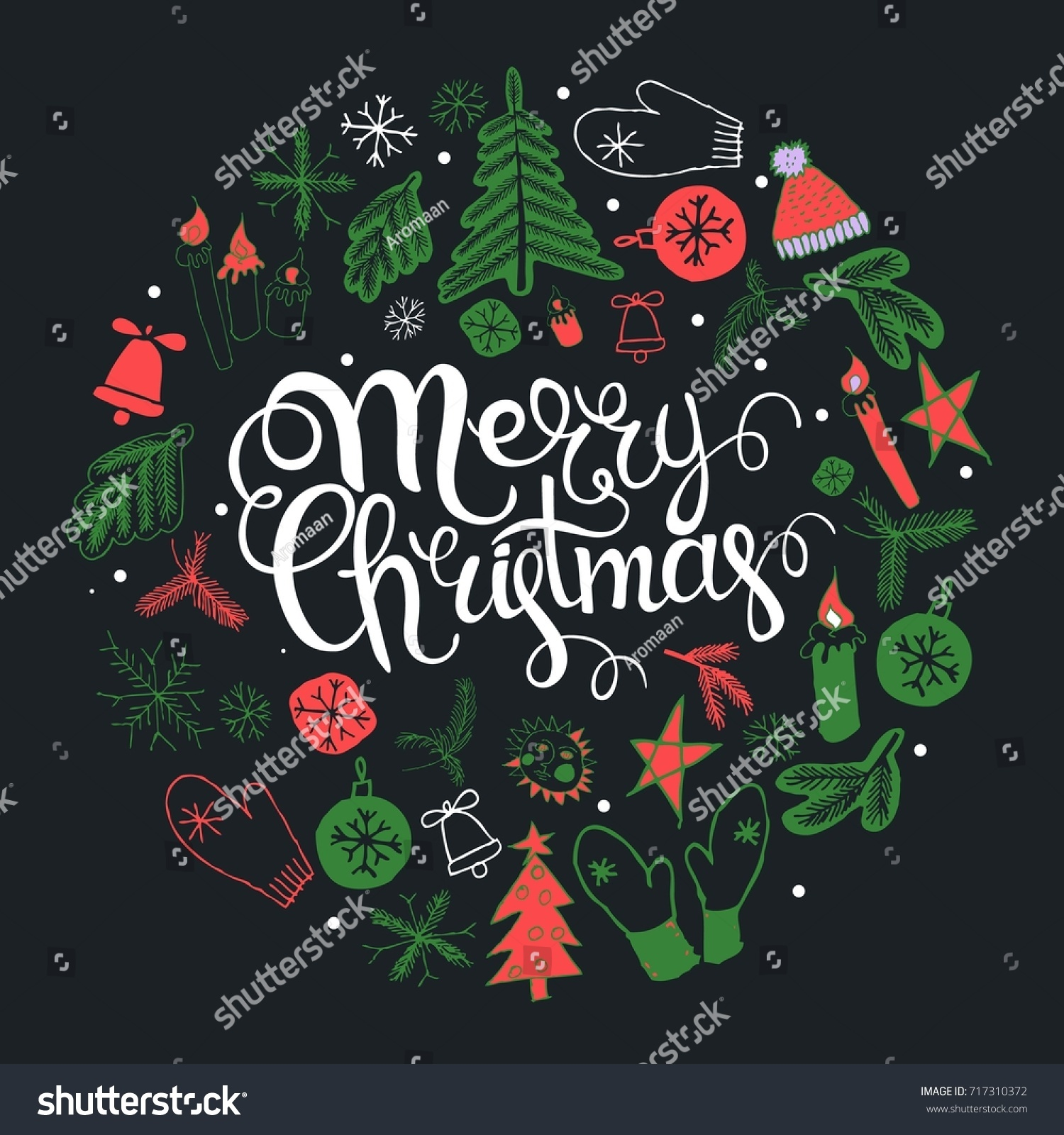 Christmas Greeting Card Text Wish You Stock Vector Royalty Free
