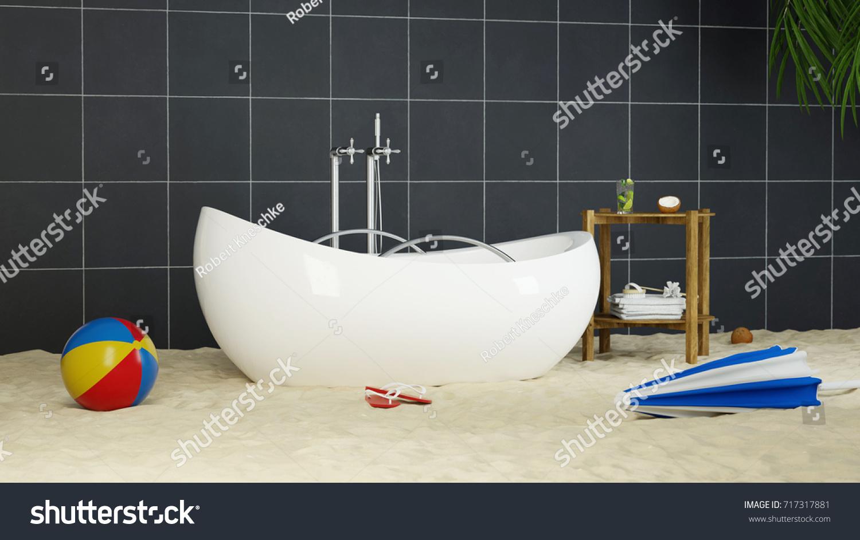 Bathtube Bathroom Beach Sand Holiday Relaxation Stock Illustration ...