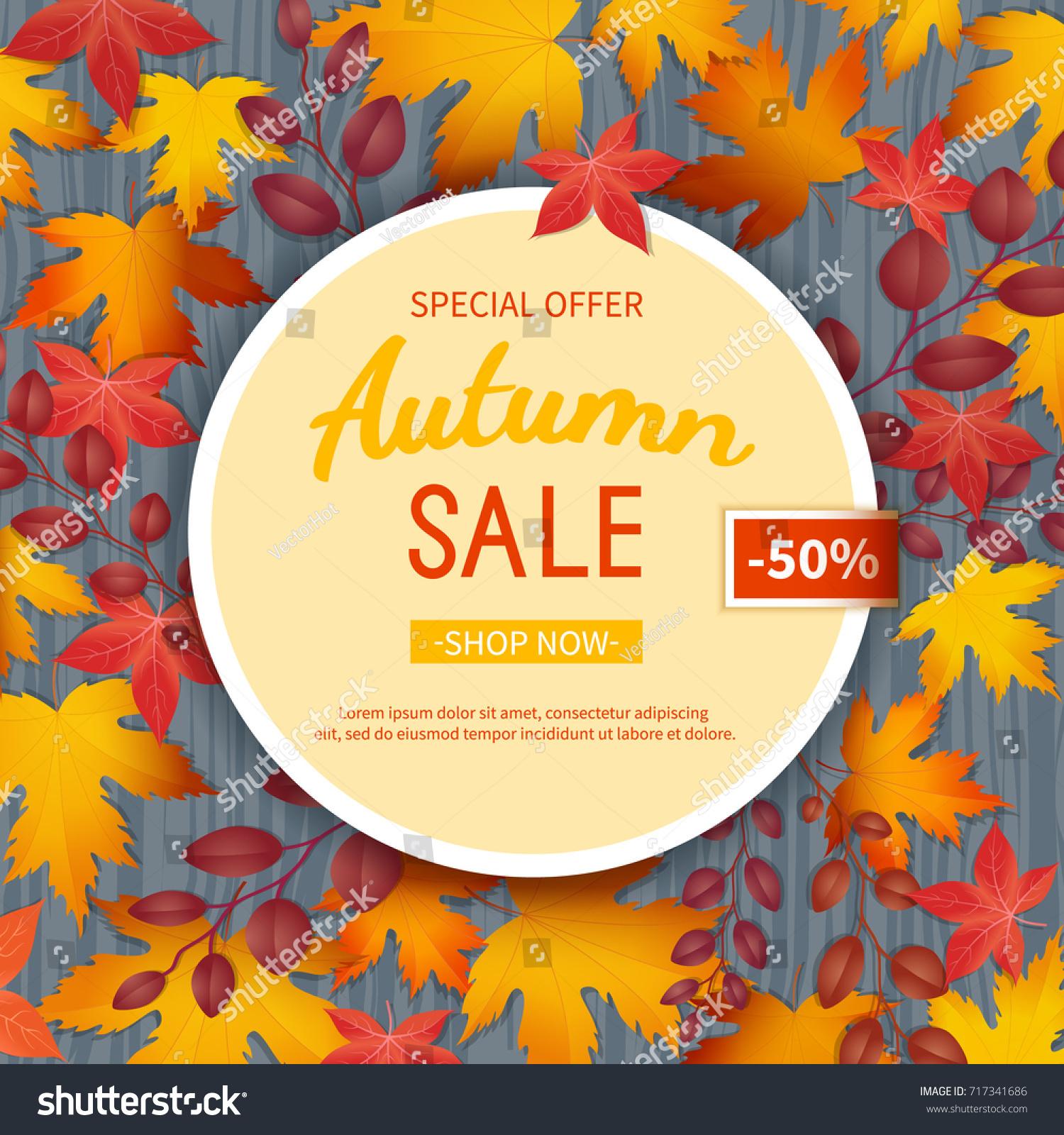 Autumn Sale Flyer Template Poster Card Stock Vector 717341686 ...