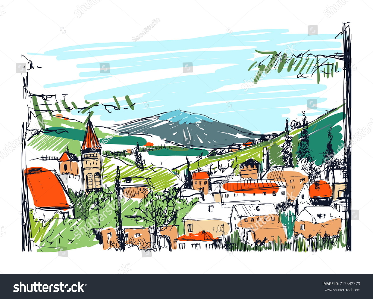 Rough Colorful Sketch Small Ancient Georgian Stock Photo (Photo ...