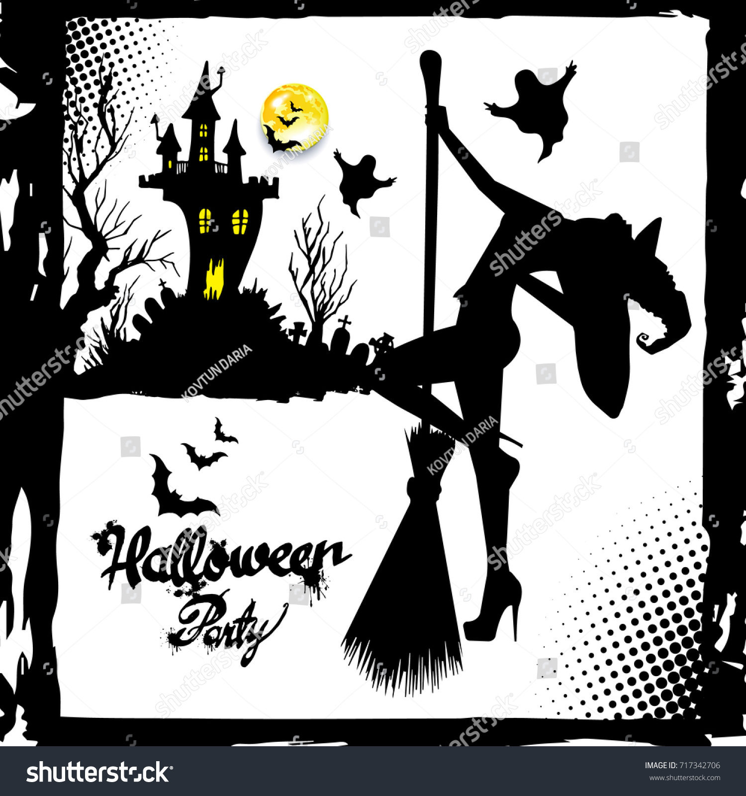 set silhouette image halloween witches witch stock vector