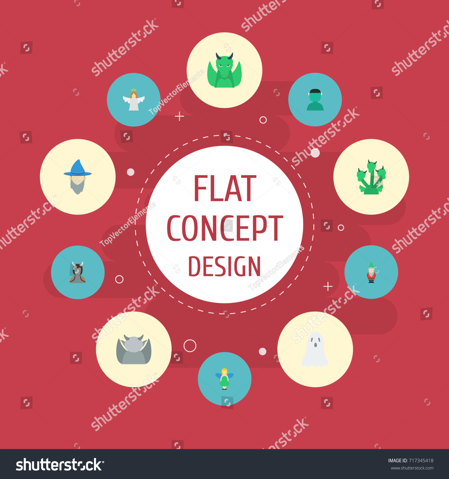 Flat Icons Dinosaur Halo Gnome Other Stock Vector (Royalty Free