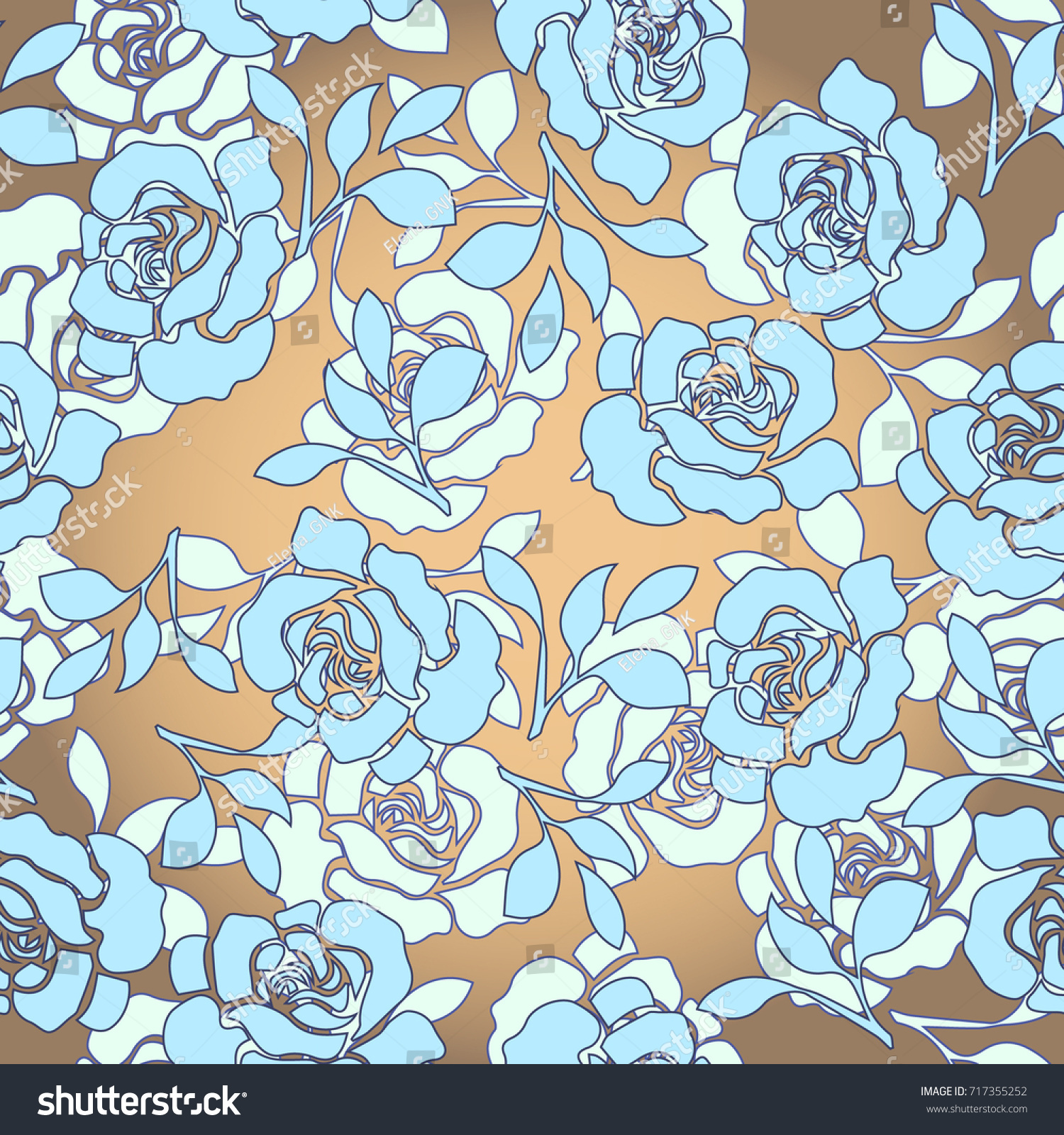 Vector Draw Rose Flower Pattern Seamless Stock Vector Royalty Free