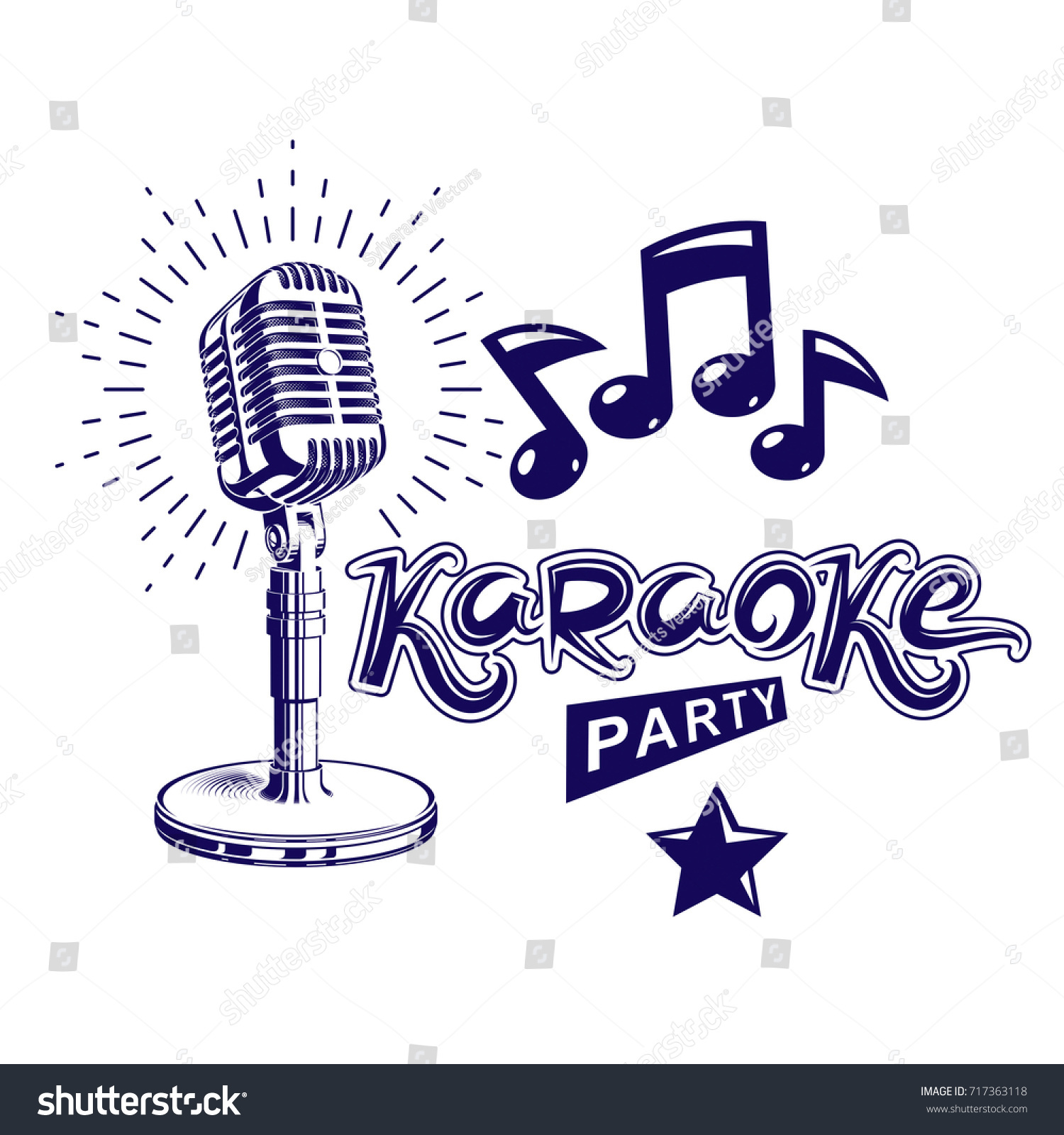Karaoke Party Invitation Poster Live Music Stock Vector 717363118 ...
