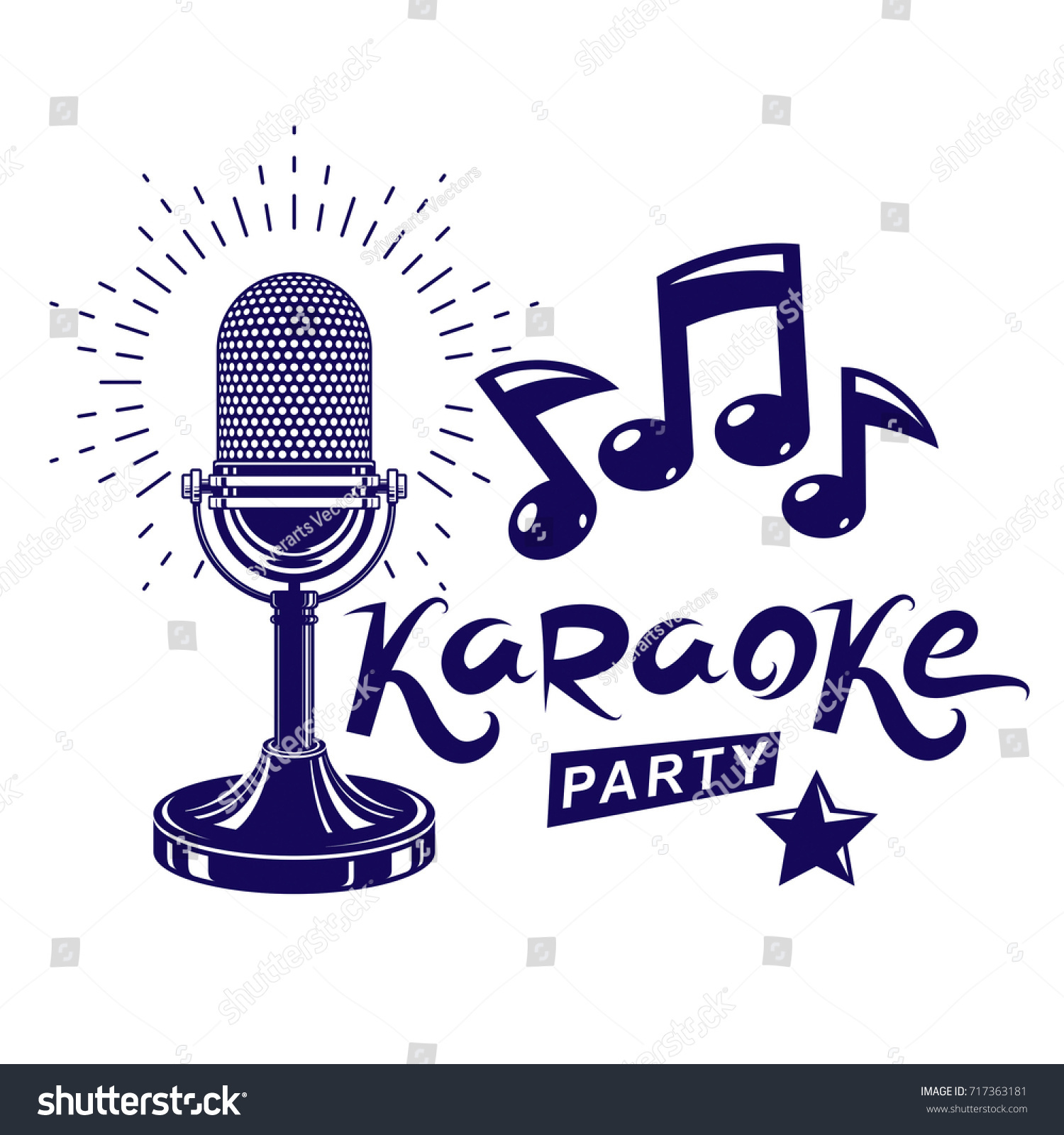 Karaoke Party Invitation Poster Live Music Stock Vector 717363181 ...
