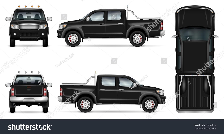 Black Pickup Truck Vector Mock Car Stock Vector 717368812 - Shutterstock