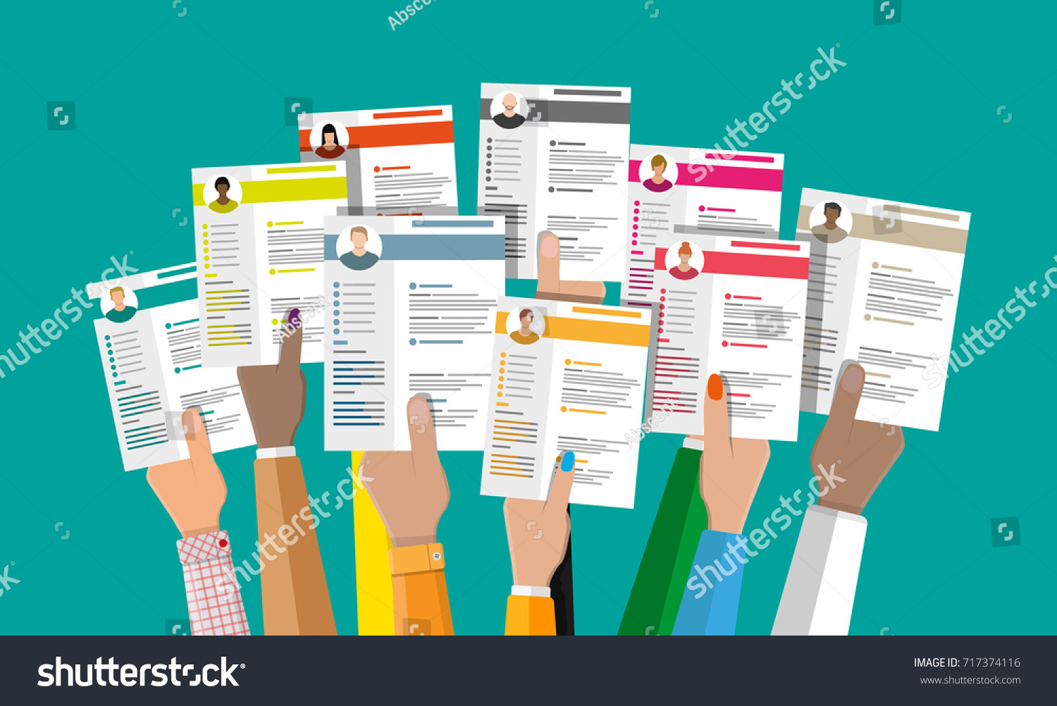 hands holding cv resume documents human stock vector 717374116