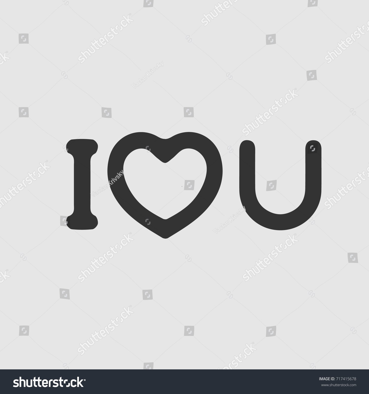 Love You Text Heart Symbol Valentine Stock Vector Royalty Free