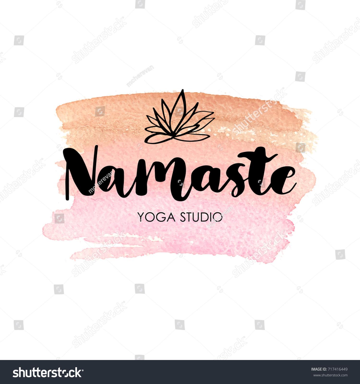 logo yoga studio meditation class lettering stock vector