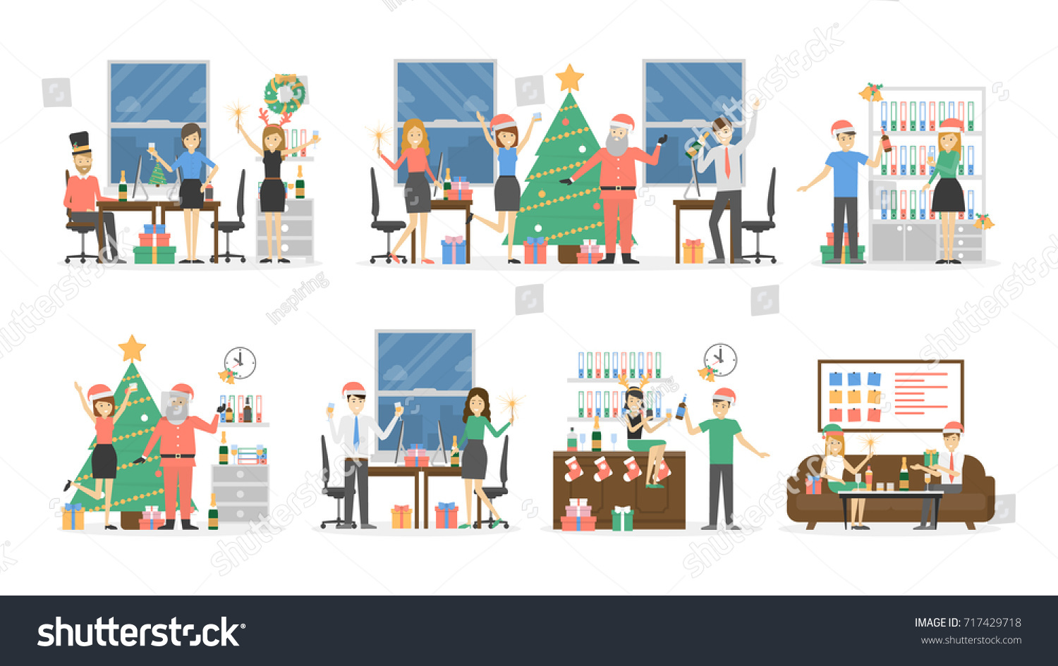 Office Christmas Party People Santa Hats Stock Vector (Royalty Free ...