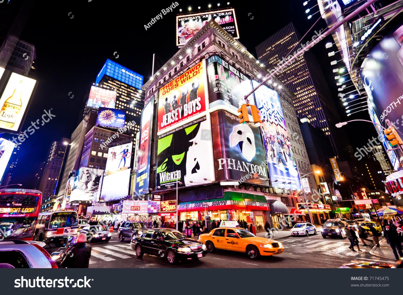 New York City Jan 7 Nighttime Buildings Landmarks Stock Image 71745475