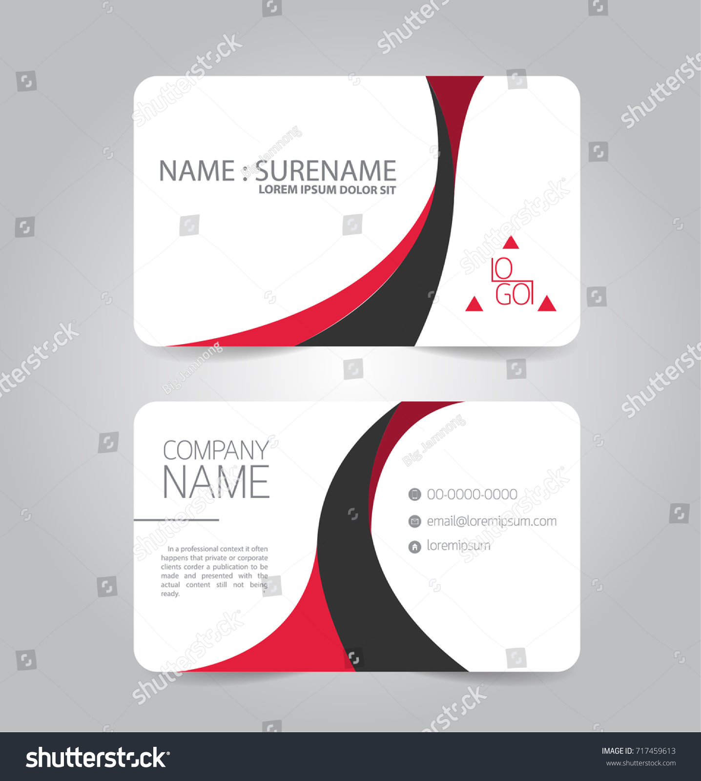 Modern Red Black Business Name Card Stock Vector 717459613 ...