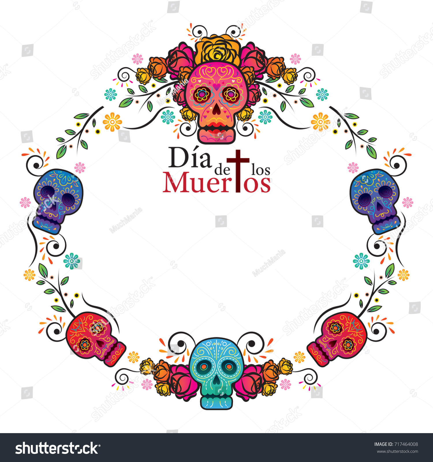 Day Dead Skull Frame Colorful Gradient Stock Vector (Royalty Free ...