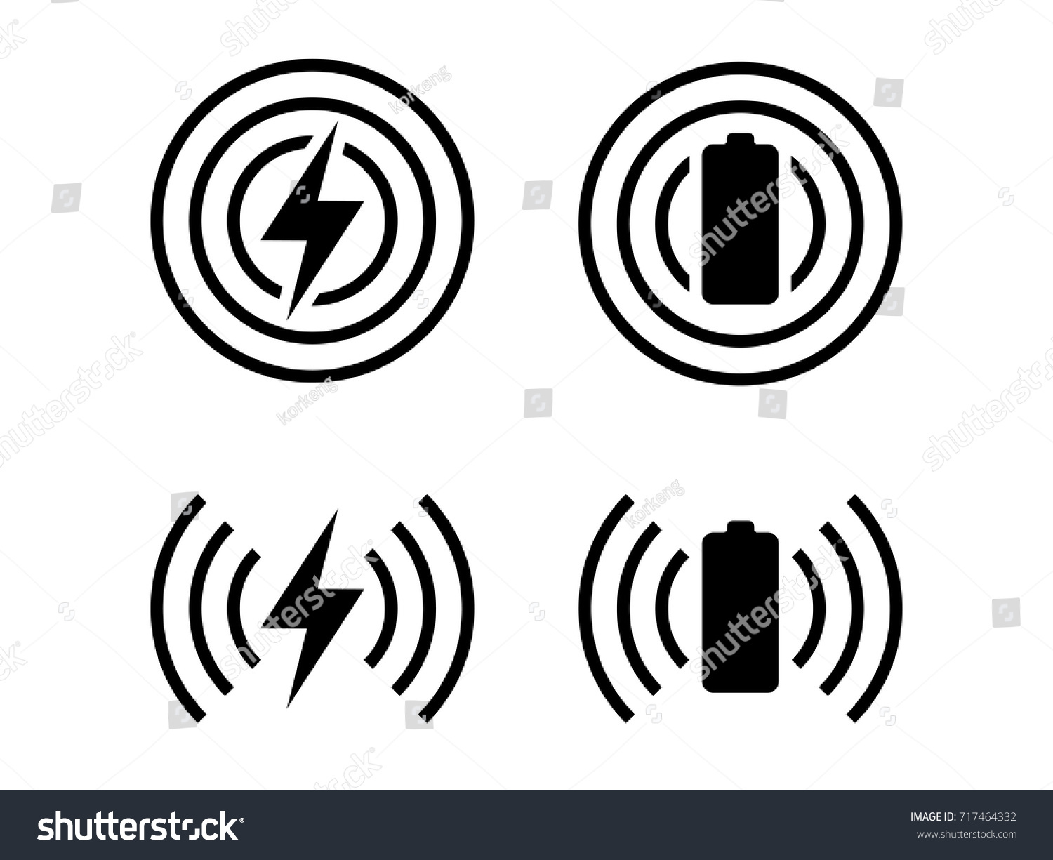 Simple Icons Set Wireless Charging Symbol Stock-Vektorgrafik ...