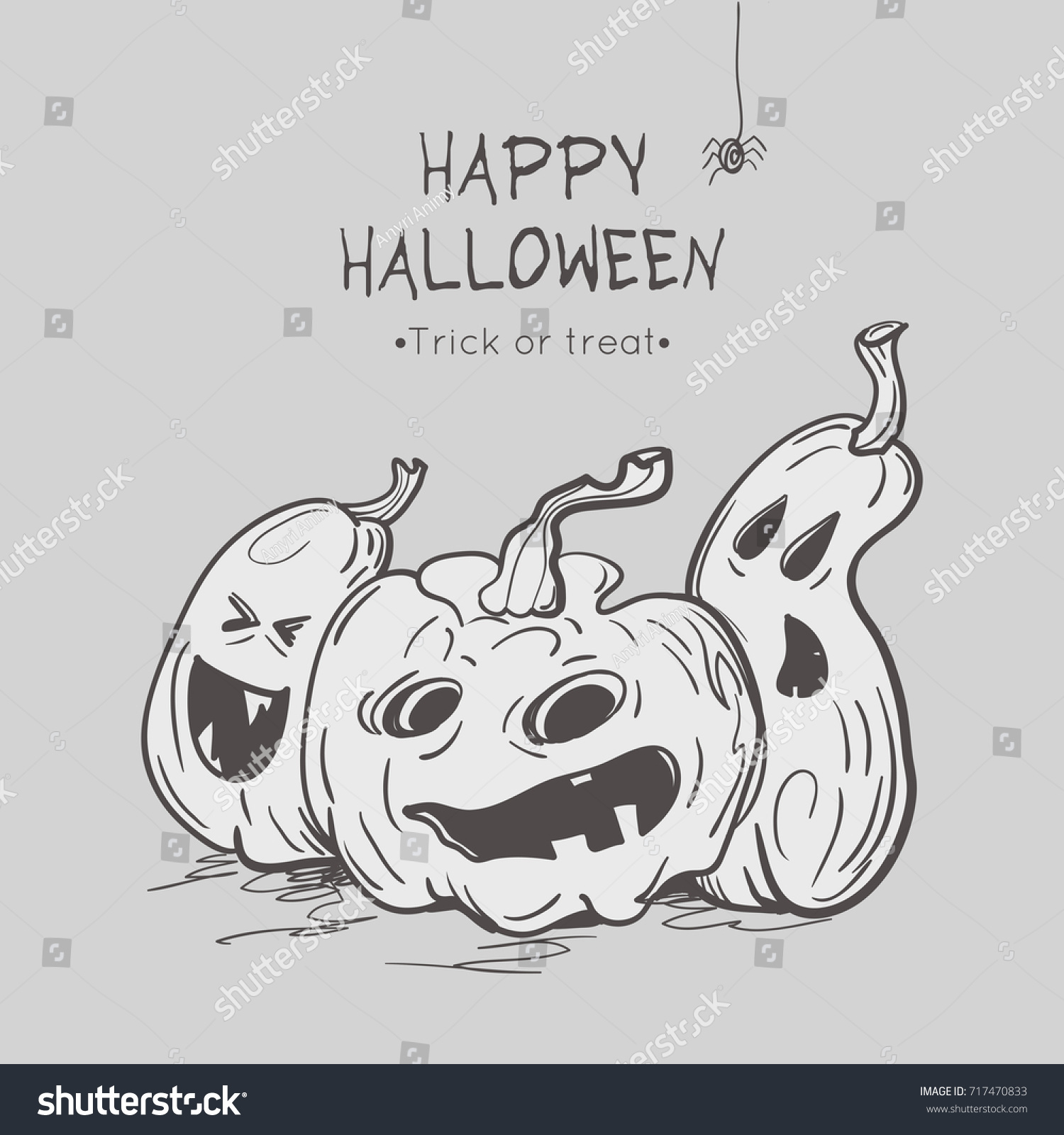 Happy halloween greeting cards pumpkins spider stock vector happy halloween greeting cards with pumpkins and spider template for halloween design vector illustration kristyandbryce Images