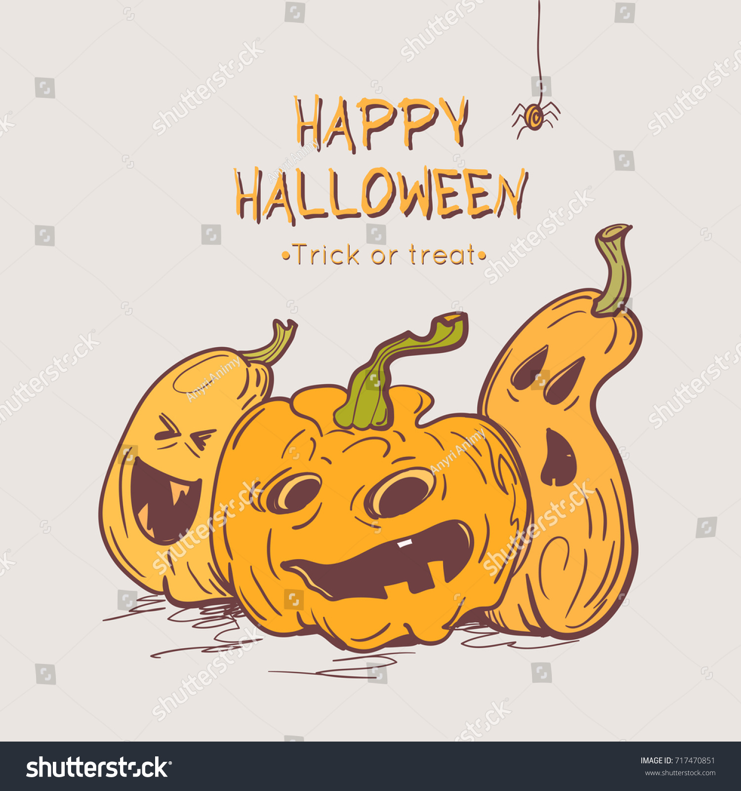 Happy halloween greeting cards pumpkins spider stock vector happy halloween greeting cards with pumpkins and spider colorful template for halloween design vector kristyandbryce Images