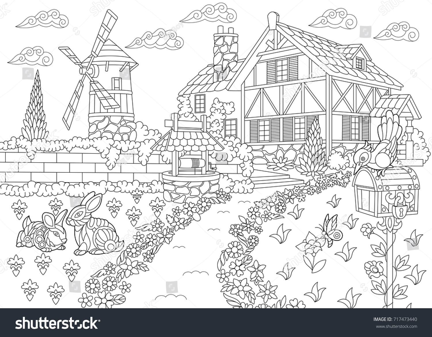 Coloring page of rural landscape farm house windmill water well mail box