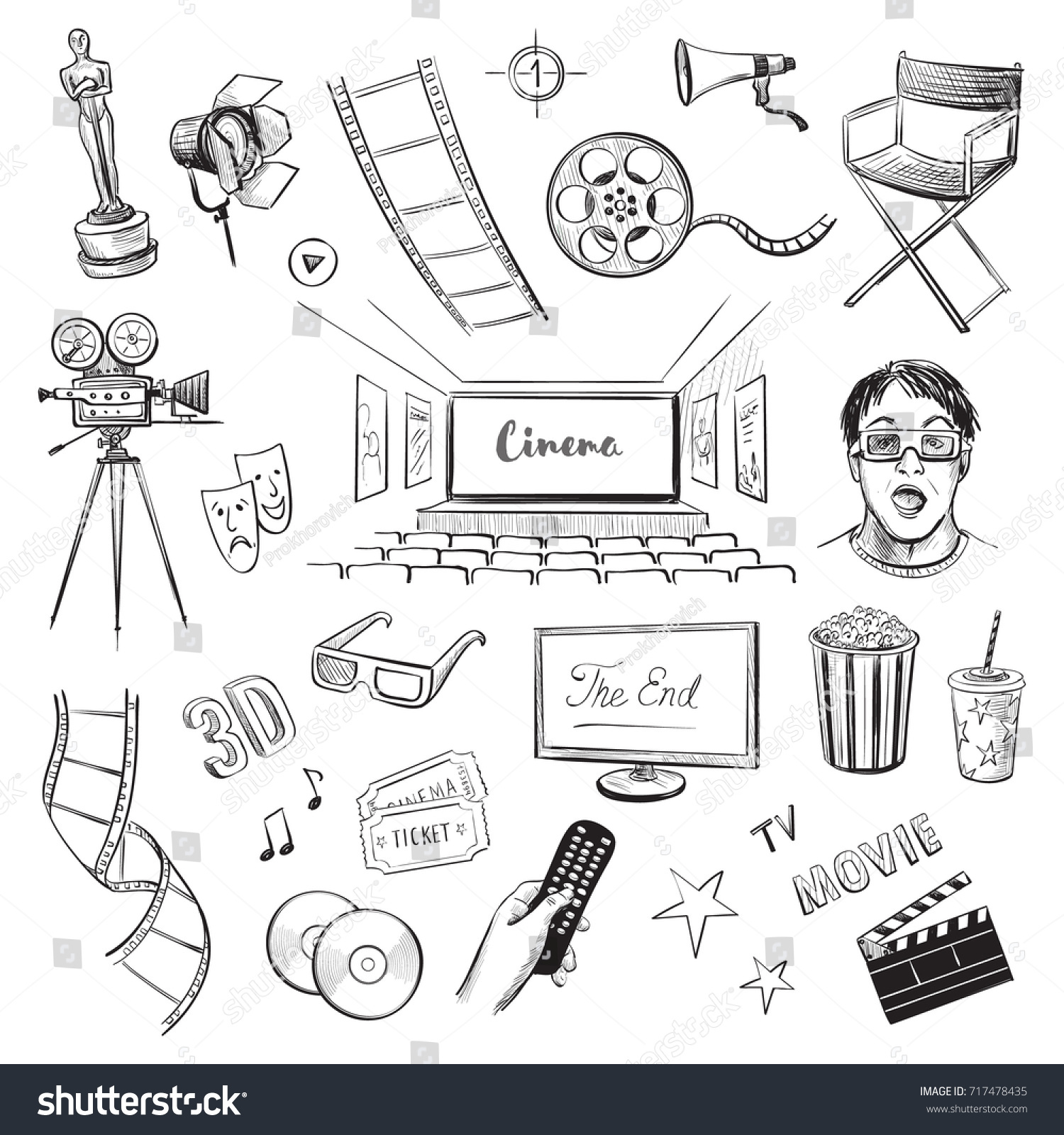 collection vector sketches cinema hand drawings stock vector