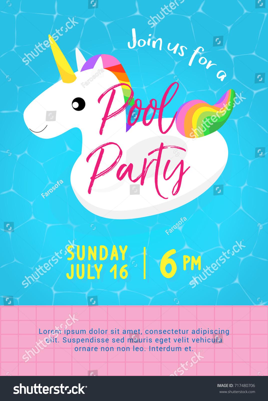 Pool Party Invitation Vector Illustration Swimming Stock Vector ...
