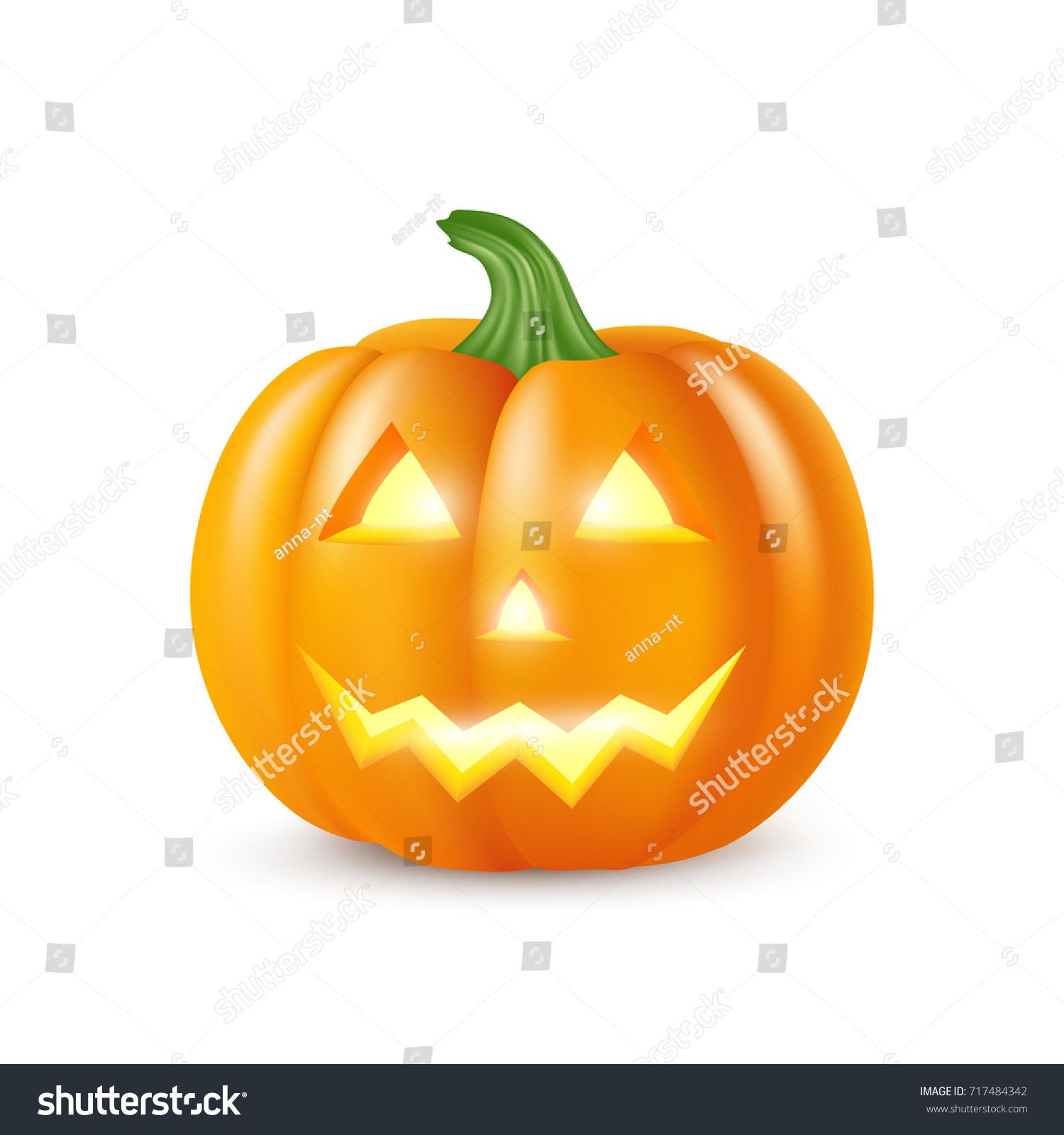 realistic vector halloween pumpkin candle inside stock vector