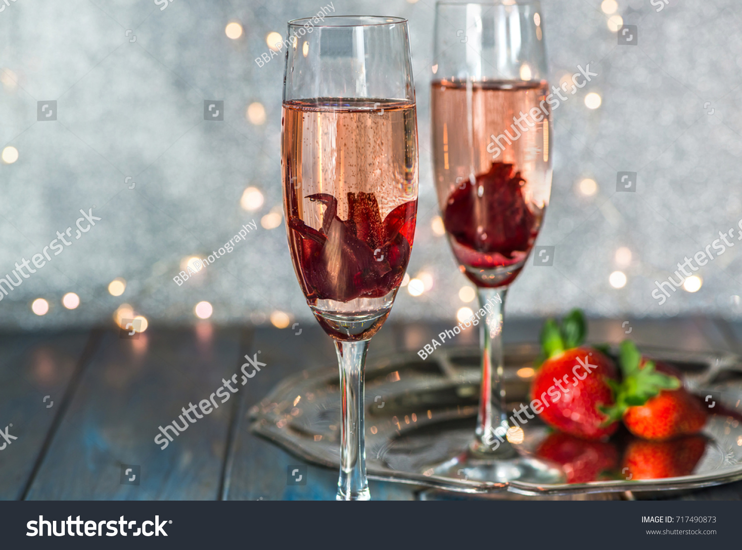 Champagne Glasses Hibiscus Flower Inside Strawberries Stock Photo