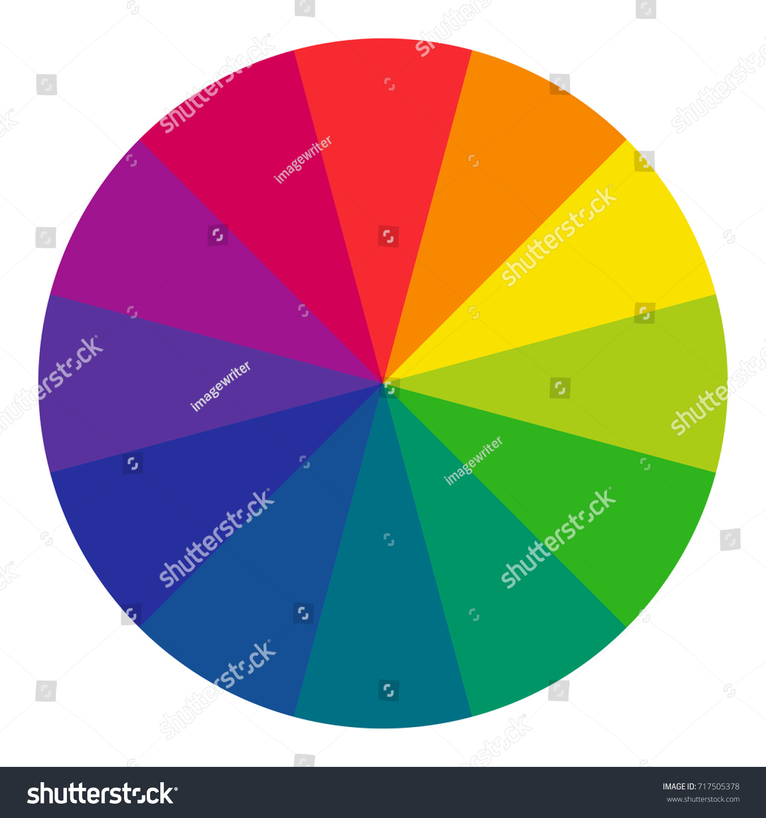 Twelve Part RGB Color Wheel Complementary Colors Are Opposite Each Other Vector Graphic On