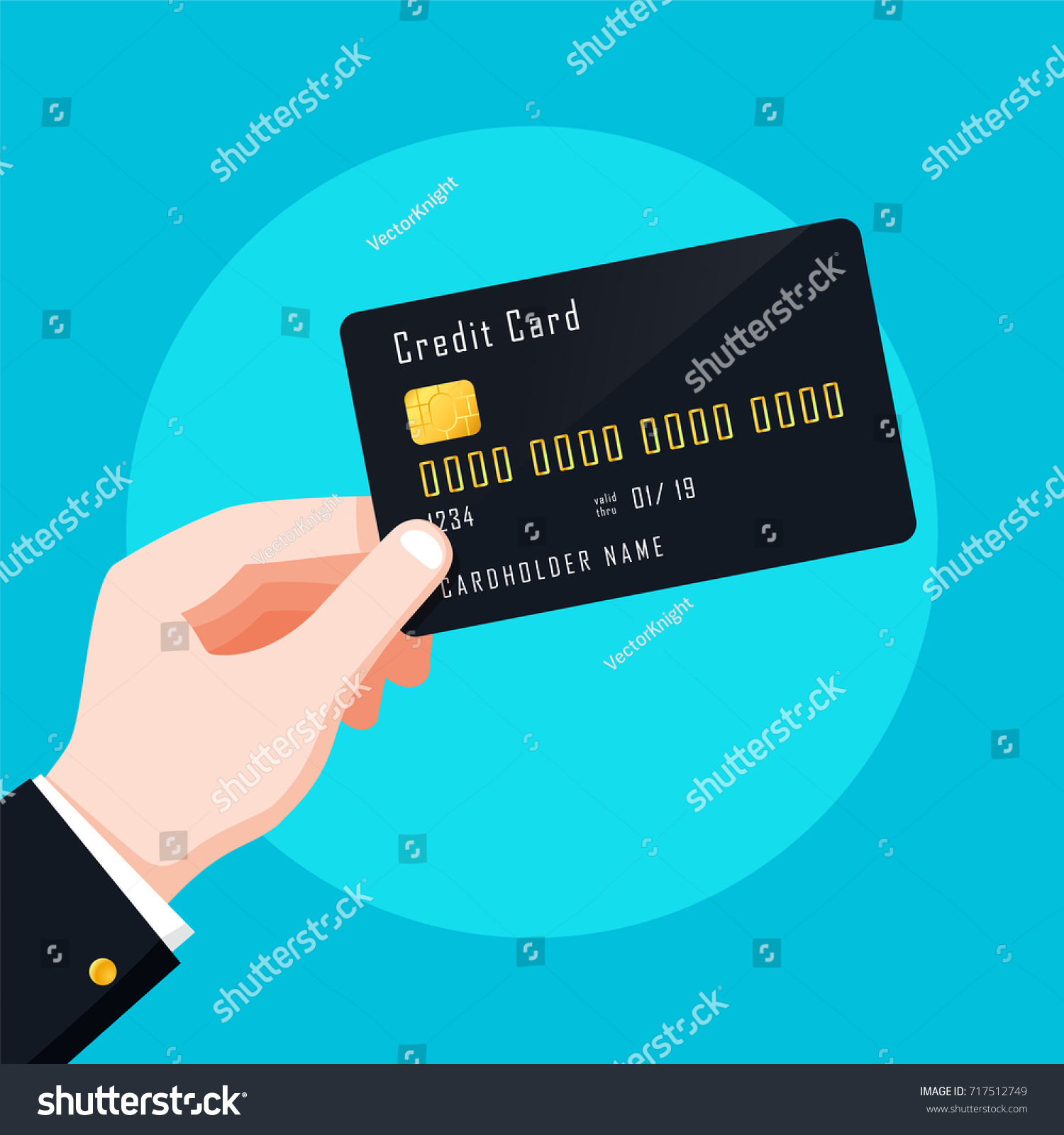 Flat design style human hand holding stock vector 717512749 flat design style human hand holding with credit card isolate on blue background vector magicingreecefo Choice Image