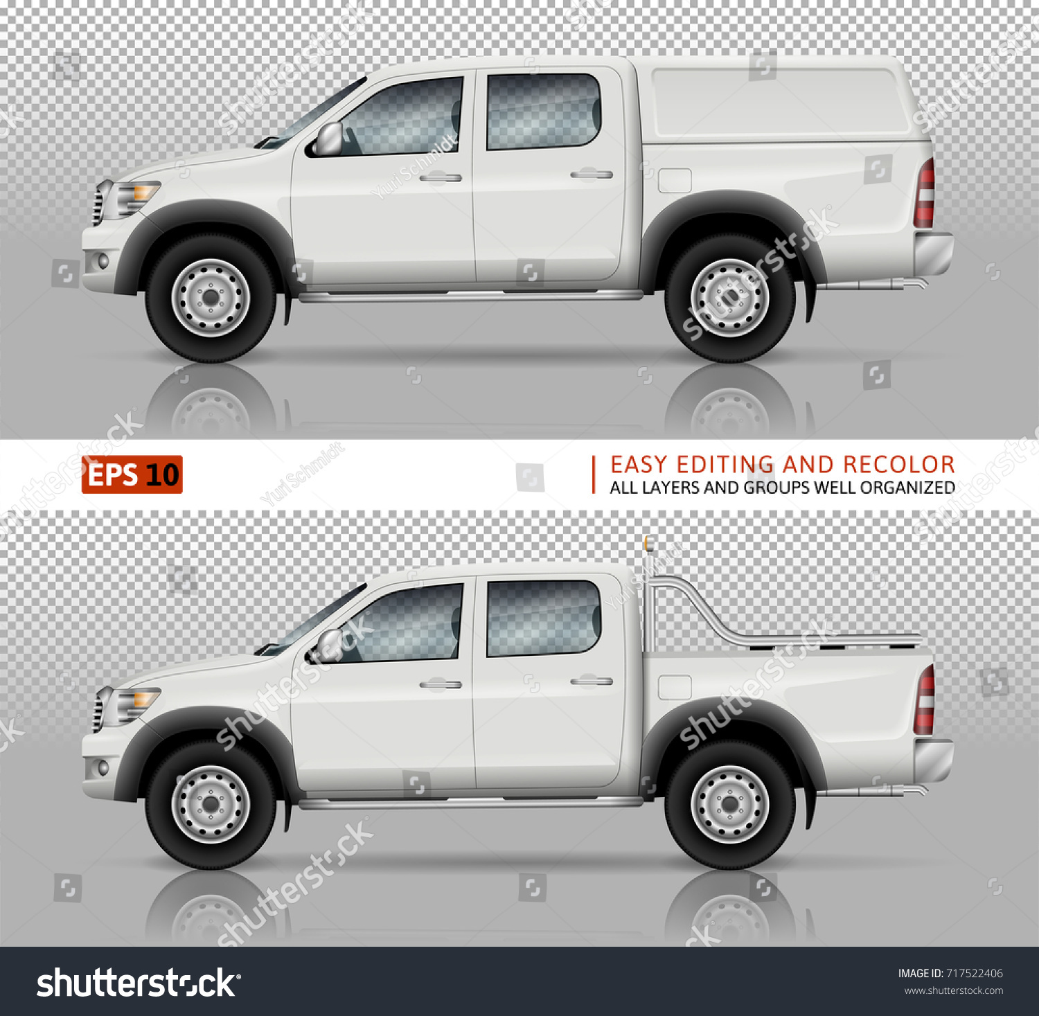 Pickup Truck Vector Mock Car Branding Stock Vector (2018) 717522406 ...