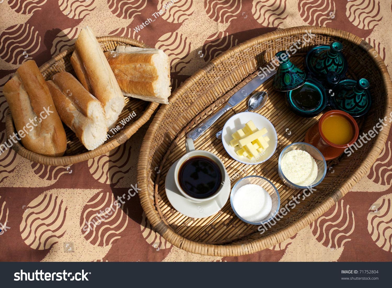 Variety Breakfast Foods Guesthouse Bamako Mali Stock Photo