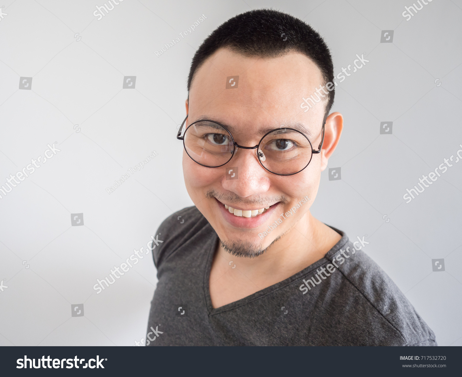 Happy Asian Freelance Man Skinhead Relaxing Stock Photo Edit Now