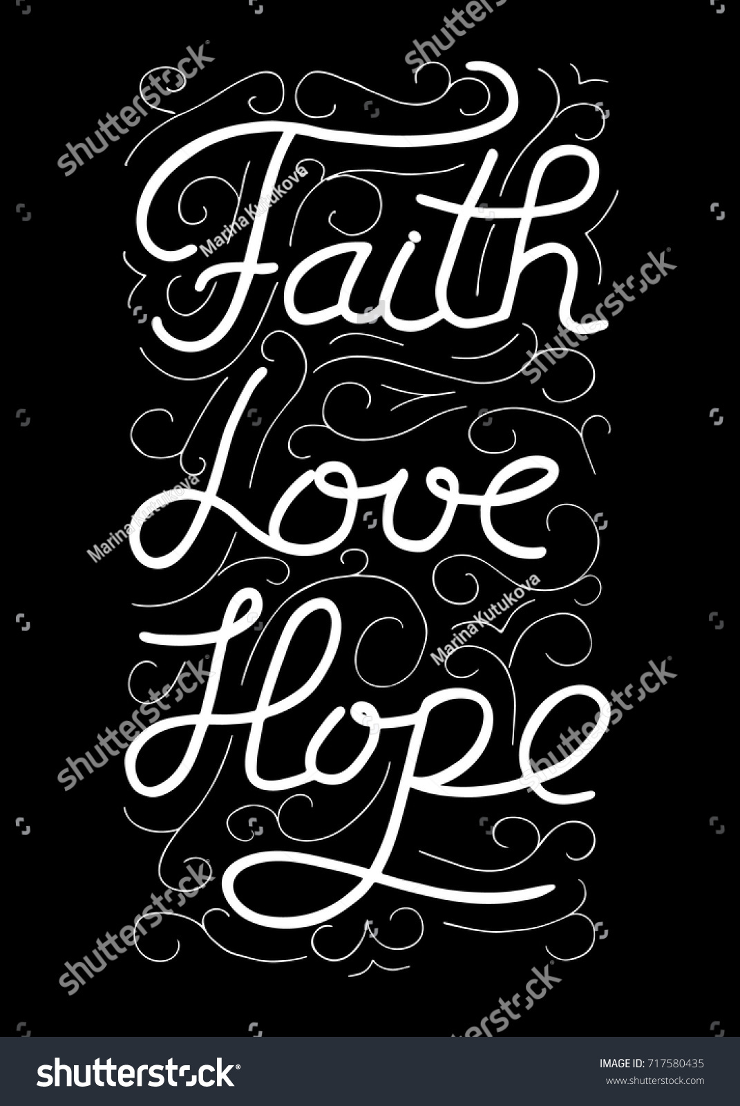 Love Faith Hope Quotes Faith Love Hope Inspirational Motivational Quote Stock Vector