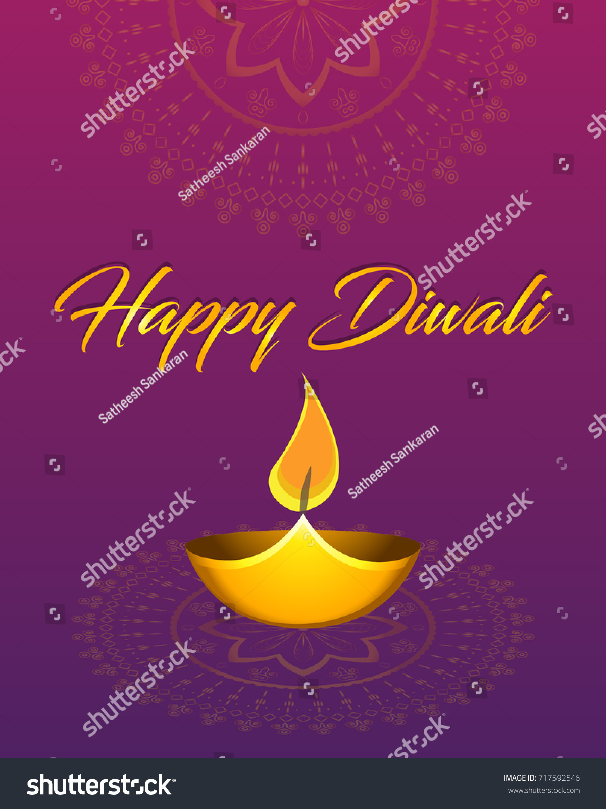 Indian Festival Lights Diwali Celebrations Vector Stock Vector