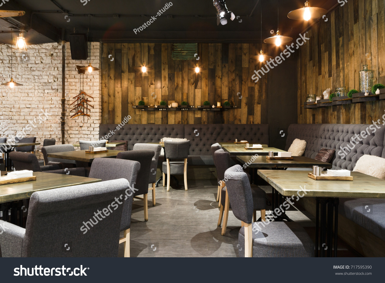 Cozy Wooden Interior Restaurant Copy Space Stockfoto (Jetzt ...