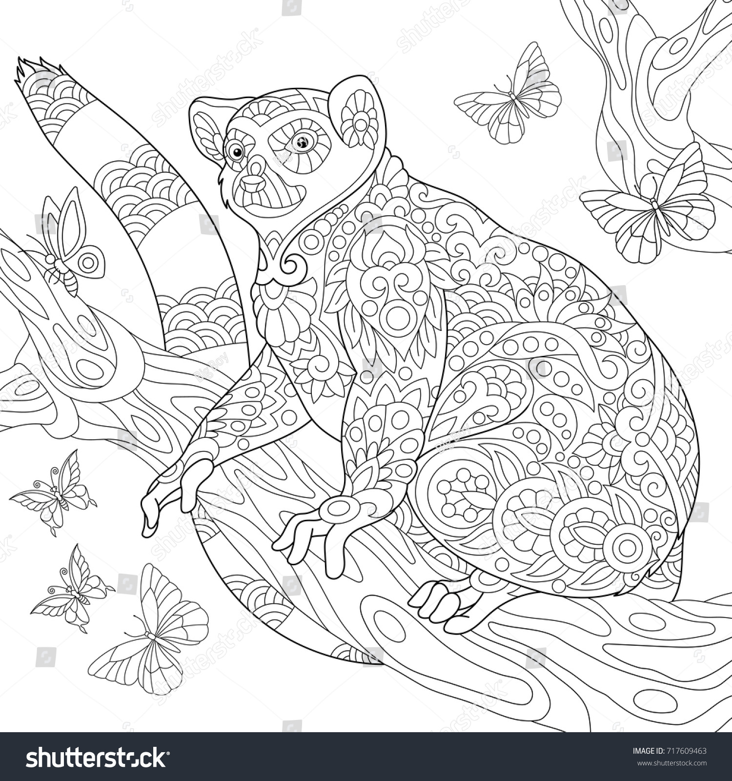 coloring page madagascar lemur surrounded by stock vector