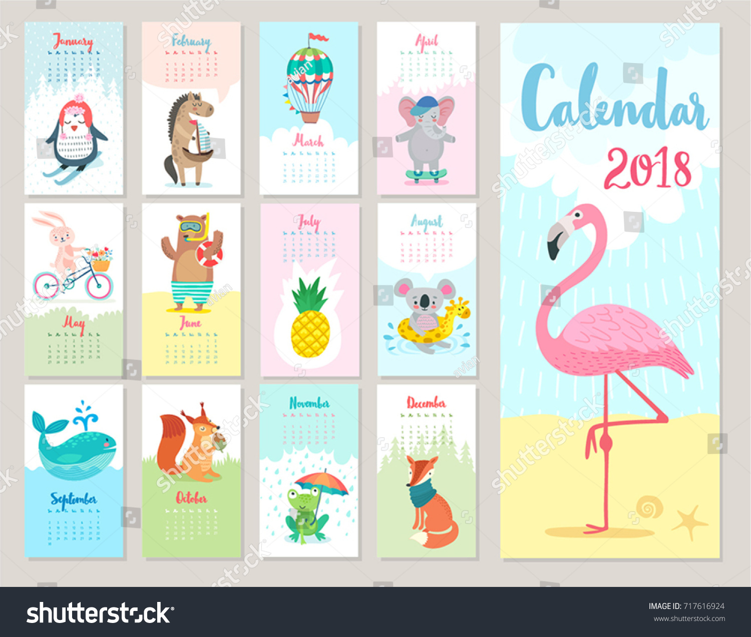 calendar 2018 cute monthly calendar with forest animals