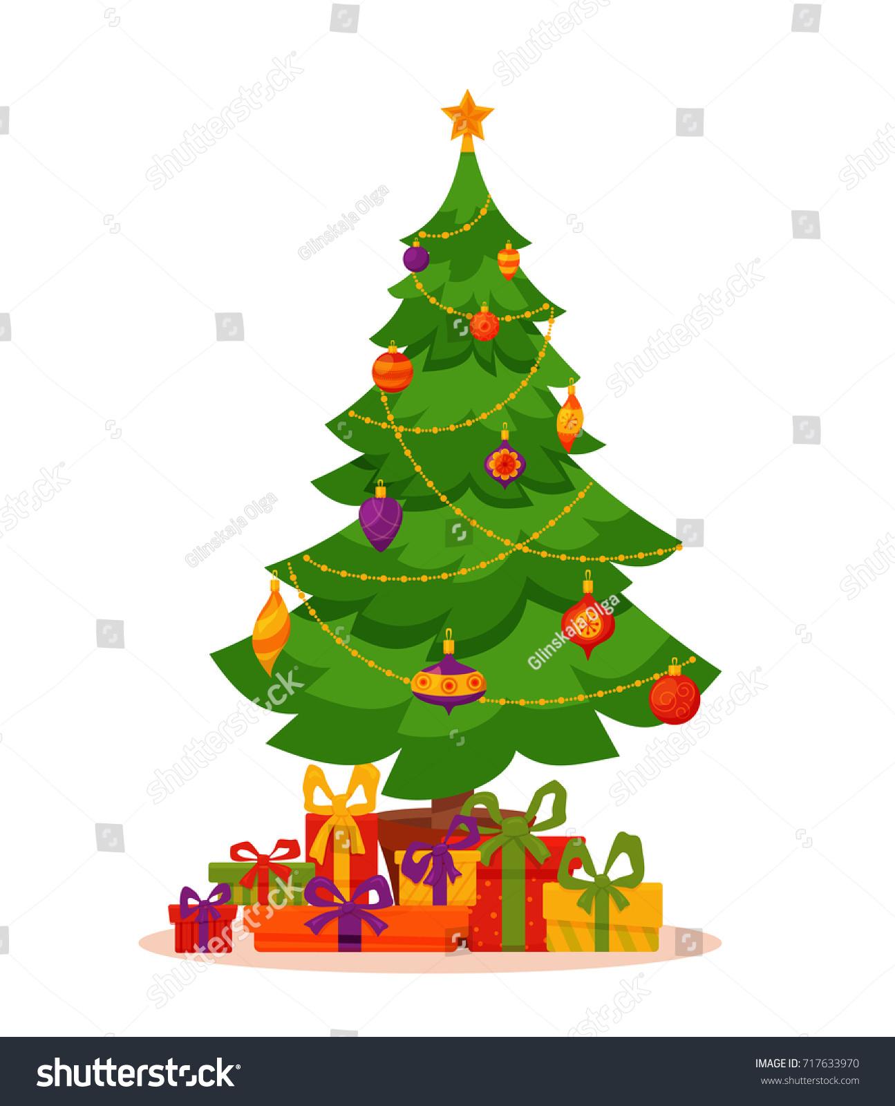 Christmas tree decorated vector illustration star stock