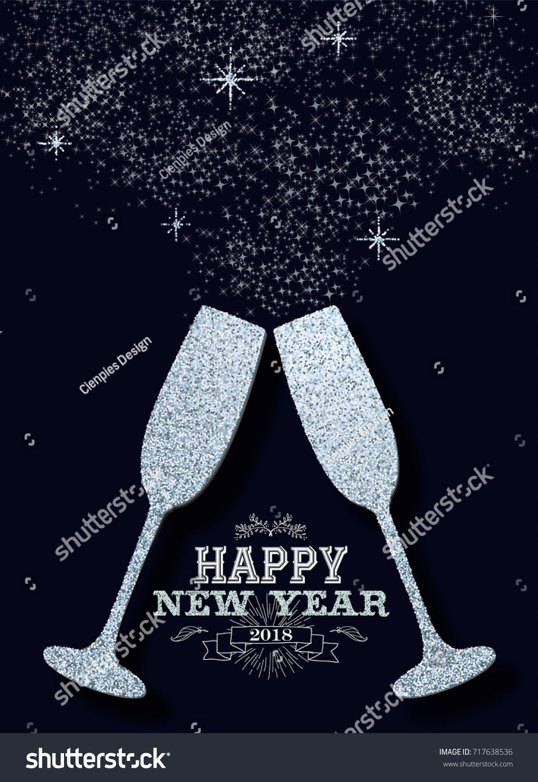 happy new year 2018 luxury celebration toast made of silver glitter sparkle dust ideal for