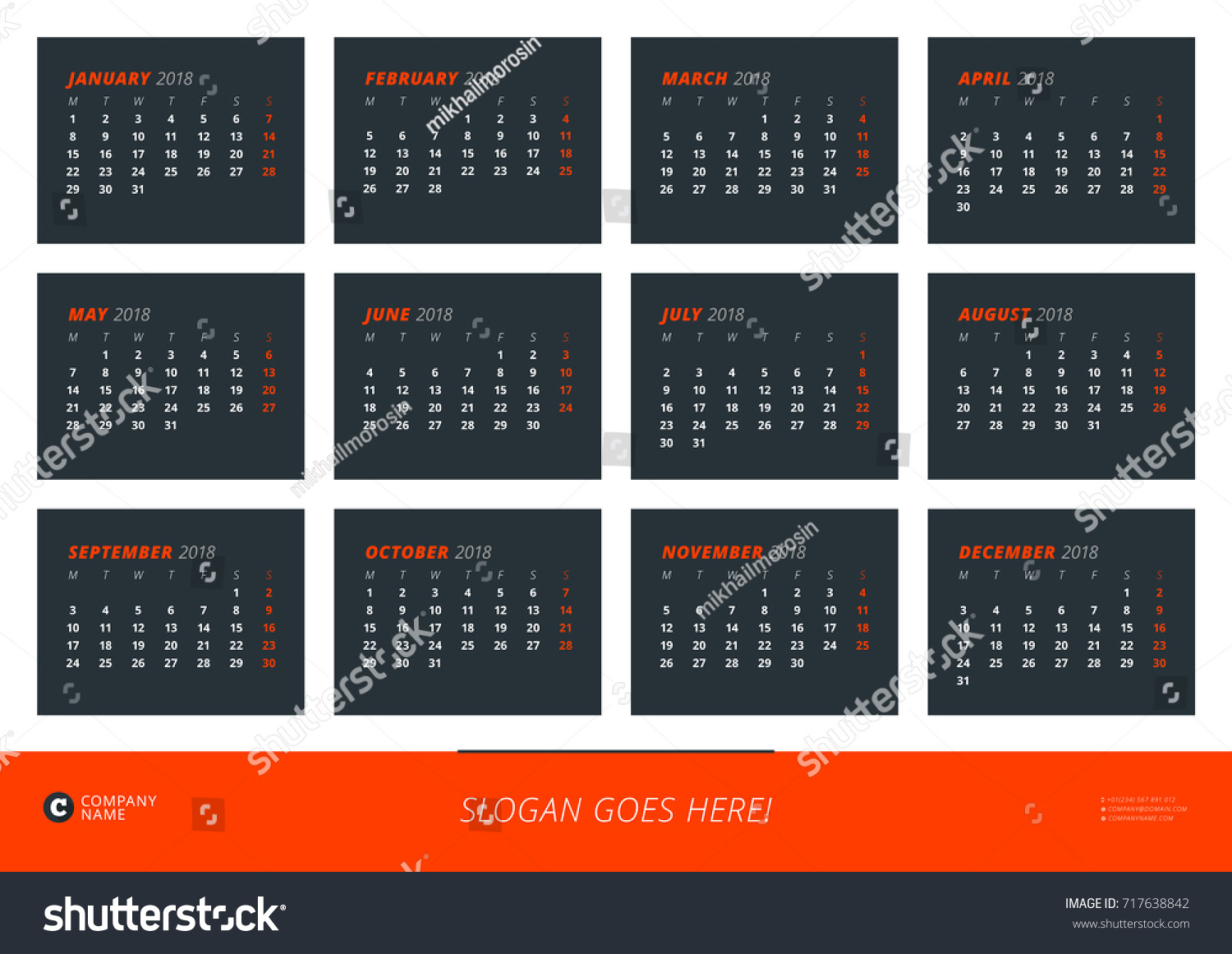 Wall Calendar Poster 2018 Year Vector Stock Vector (Royalty Free ...