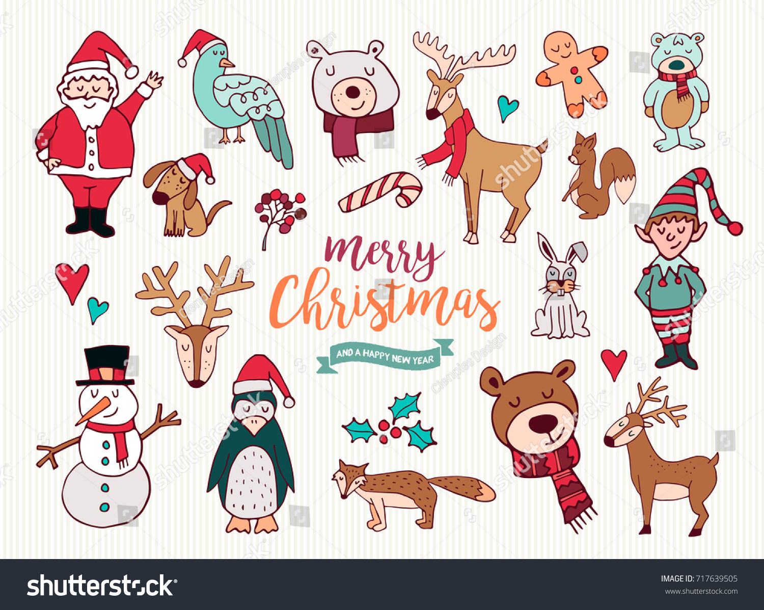 merry christmas happy new year cute festive cartoon element collection set of hand drawn holiday