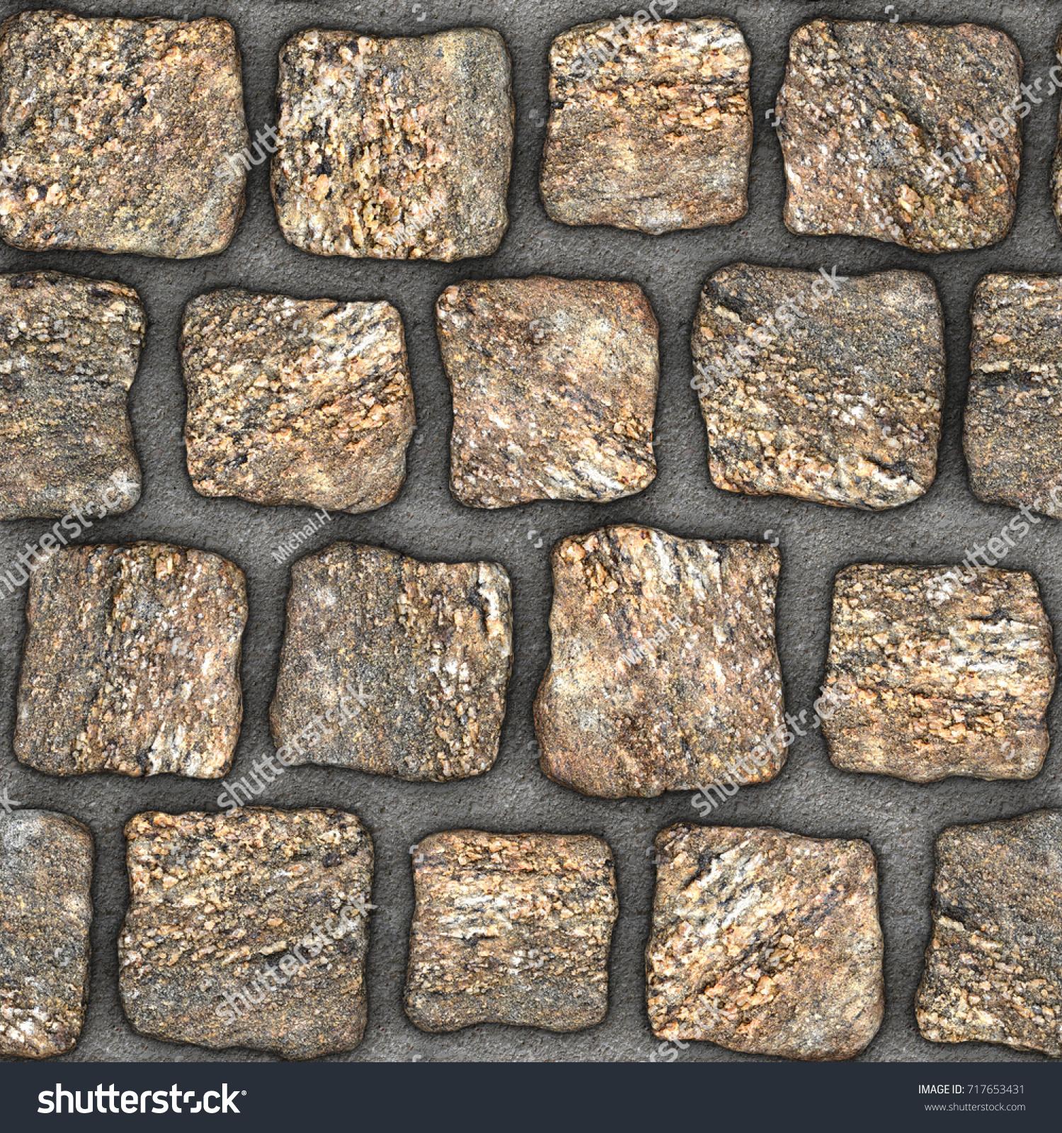 Cobblestone Natural Stone Pavers Insert Concrete Stock