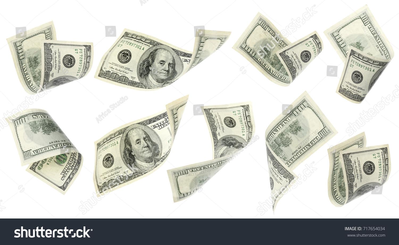 Flying money on white background #717654034