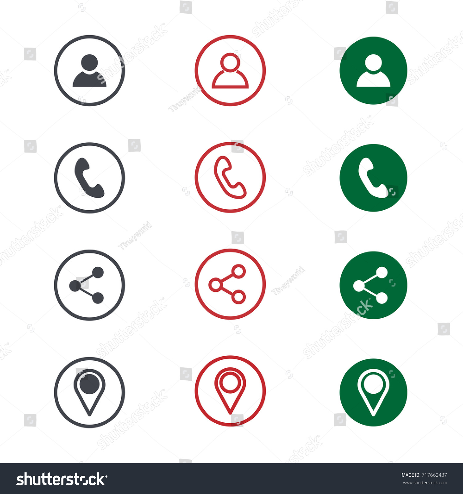 Set contact detail icon isolated on stock vector 717662437 set of contact detail icon isolated on white background in green red and black magicingreecefo Gallery